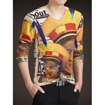 V-Neck Long Sleeve Abstract Figure Print Knitting T-Shirt - COLORMIX L