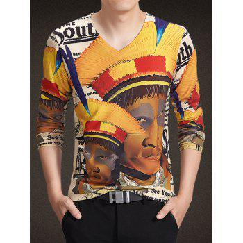 V-Neck Long Sleeve Abstract Figure Print Knitting T-Shirt