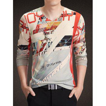 V-Neck Long Sleeve Abstract Letters Print Knitting T-Shirt