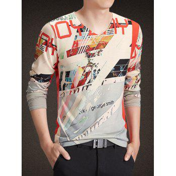 V-Neck Long Sleeve Abstract Letters Print Knitting T-Shirt - COLORMIX M