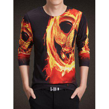 Round Neck Long Sleeve 3D Flame Bird Print Knitting T-Shirt