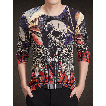Round Neck Long Sleeve 3D Wings and Skull Print Knitting T-Shirt