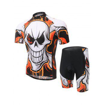 Skull Print Cycling Zip-Up T-Shirt and Shorts Twinset