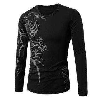 Round Collar Long Sleeve Tattoo Printed T-Shirt