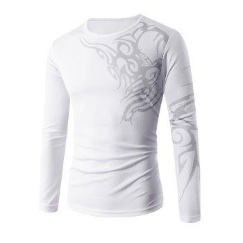 Long Sleeve Tattoo Print T-Shirt
