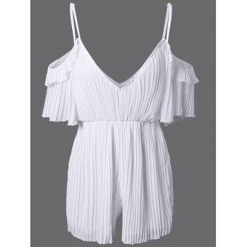 Brief Cold Shoulder Pleated Romper