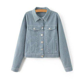 Shirt Neck Long Sleeve Striped Denim Jacket