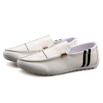 Slip-On Stitching PU Leather Loafers - WHITE WHITE