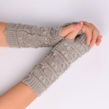 Pair of Stripy Crochet Knitted Fingerless Gloves - LIGHT GRAY