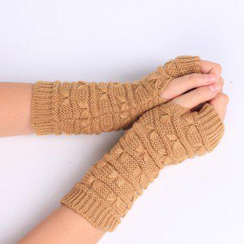 Pair of Stripy Crochet Knitted Fingerless Gloves - LIGHT KHAKI