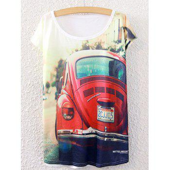 Stylish Women's Short Sleeve Car Pattern Round Neck T-Shirt