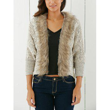 Fashionable Solid Color With Faux Fur Long Sleeve Cardigan For Women