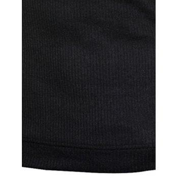 Claw Button Ribbed Shoulder Patch Long Sleeve Sweater - BLACK 2XL