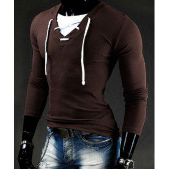Slimming V-Neck Stylish Drawstring Faux Twinset Long Sleeve Polyester Men's T-Shirt - COFFEE COFFEE