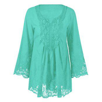 Lace Patchwork Peasant Top - MINT GREEN MINT GREEN