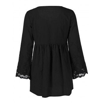Lace Patchwork Peasant Top - BLACK BLACK