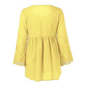Lace Patchwork Peasant Top - YELLOW YELLOW
