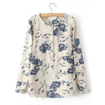 Pocket Floral Print Buttoned Shirt - LIGHT KHAKI LIGHT KHAKI