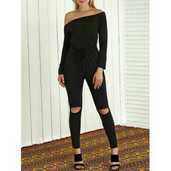 Off-The-Shoulder Drawstring Hollow Out Jumpsuit