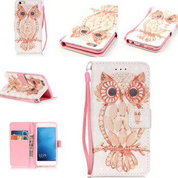 Wallet Design Owl Pattern Phone Case For iPhone 6S Plus - WHITE WHITE