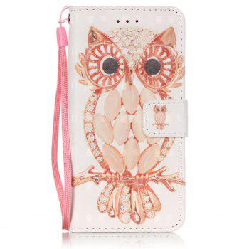 Wallet Design Owl Pattern Phone Case For iPhone 6S Plus -  WHITE
