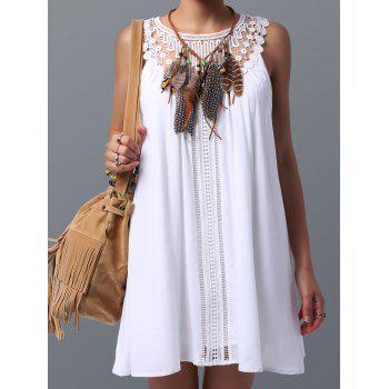 Women Trendy Lace Spliced Sleeveless Tunic Dress