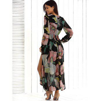 Surplice Summer Floral Maxi Beach Dress with Slit, FLORAL, XL in ...