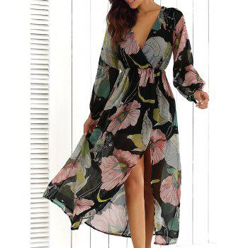 Surplice Summer Floral Maxi Beach Dress with Slit