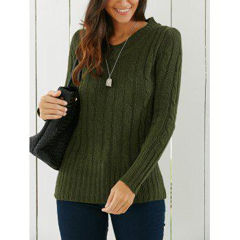V Neck Cable Knit Longline Sweater - GREEN ONE SIZE