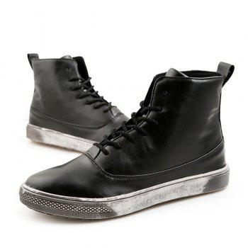 PU Leather Lace-Up Boots - BLACK 44