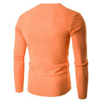 V-cou à manches longues Knitting Sweater - Orange M