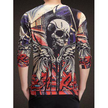Round Neck Long Sleeve 3D Wings and Skull Print Knitting T-Shirt - COLORMIX L