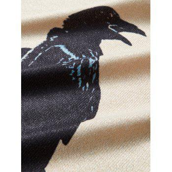 Round Neck Long Sleeve Moon and Crow Print Knitting T-Shirt - COLORMIX M
