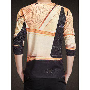 V-Neck Long Sleeve 3D Abstract Eye Print Knitting T-Shirt - COLORMIX 2XL