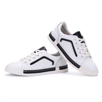 PU Leather Color Block Lace-Up Casual Shoes - WHITE 43