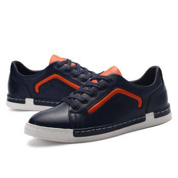 PU Leather Color Block Lace-Up Casual Shoes - BLUE 41