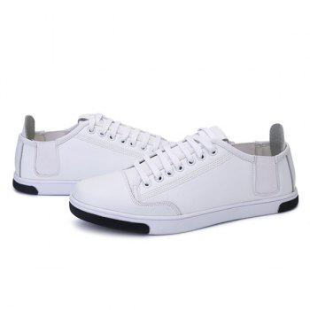 Round Toe Tie Up PU Leather Casual Shoes - WHITE 41