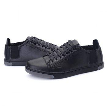 Round Toe Tie Up PU Leather Casual Shoes - BLACK 42