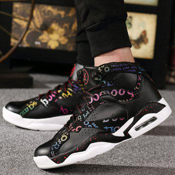 Lace-Up Letter Print High Top Athletic Shoes - BLACK 41