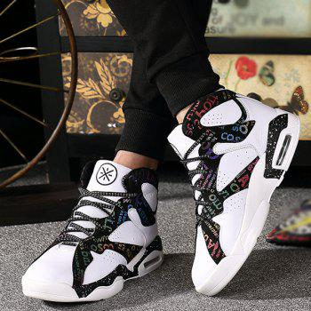 Lace-Up Letter Print High Top Athletic Shoes - WHITE 44