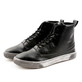 PU Leather Lace-Up Boots - BLACK 40