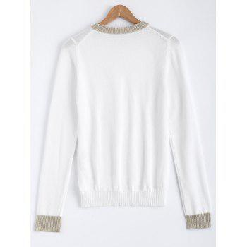 Couleur Patchwork Stretchy Sweater - Blanc ONE SIZE