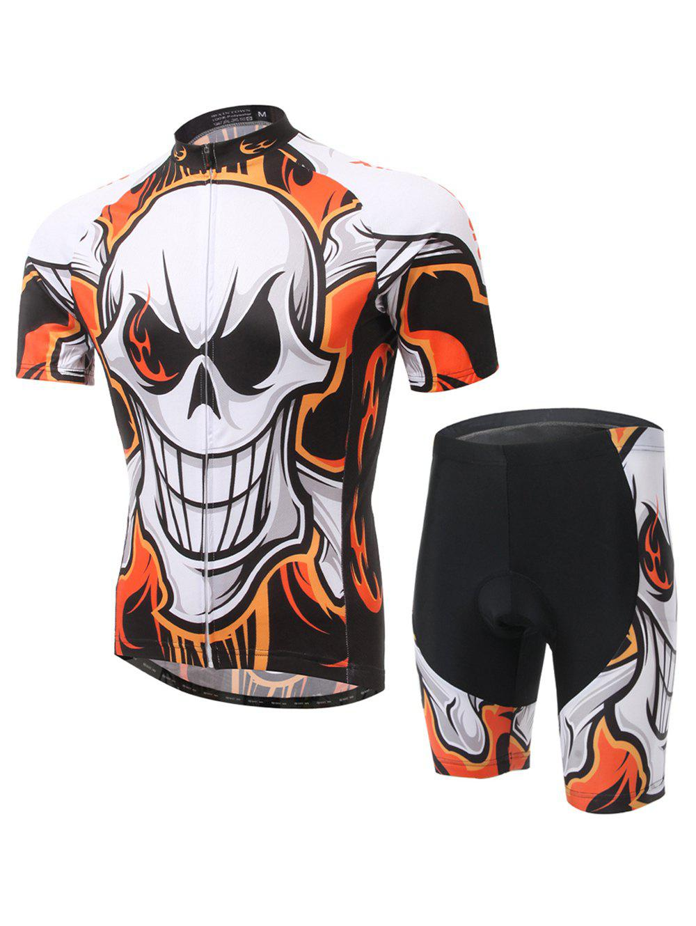 Skull Print Cycling Zip-Up T-Shirt and Shorts TwinsetMen<br><br><br>Size: S<br>Color: COLORMIX