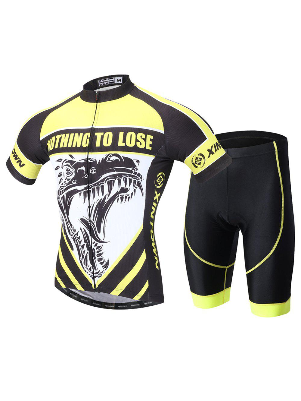 Dinosaur Print Cycling Zip-Up T-Shirt and Shorts Twinset feather print zip up back shorts