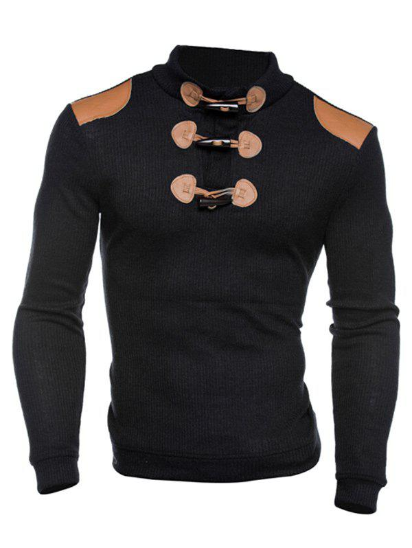 Claw Button Ribbed Shoulder Patch Long Sleeve Sweater 192401901