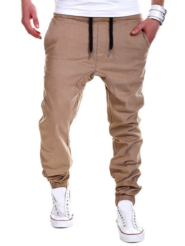Drawstring Drop Crotch Jogger Pants - KHAKI XL