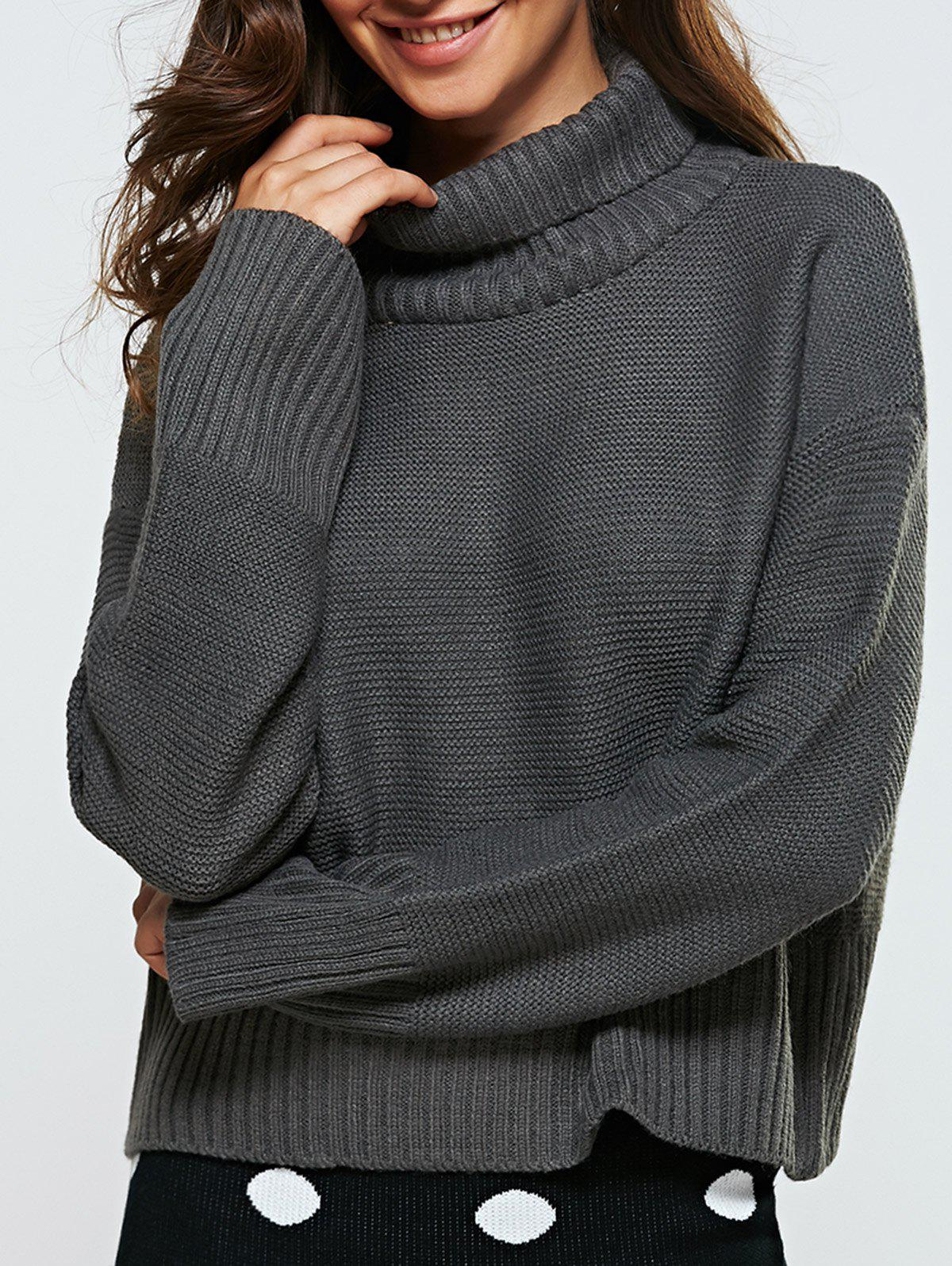Turtle Neck Ribbed Loose-Fitting Sweater - GRAY ONE SIZE