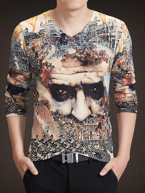 V-Neck Long Sleeve 3D Abstract Geometric Figure Print Knitting T-Shirt