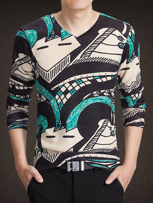 V-Neck Long Sleeve 3D Abstract Geometric Print Knitting T-Shirt