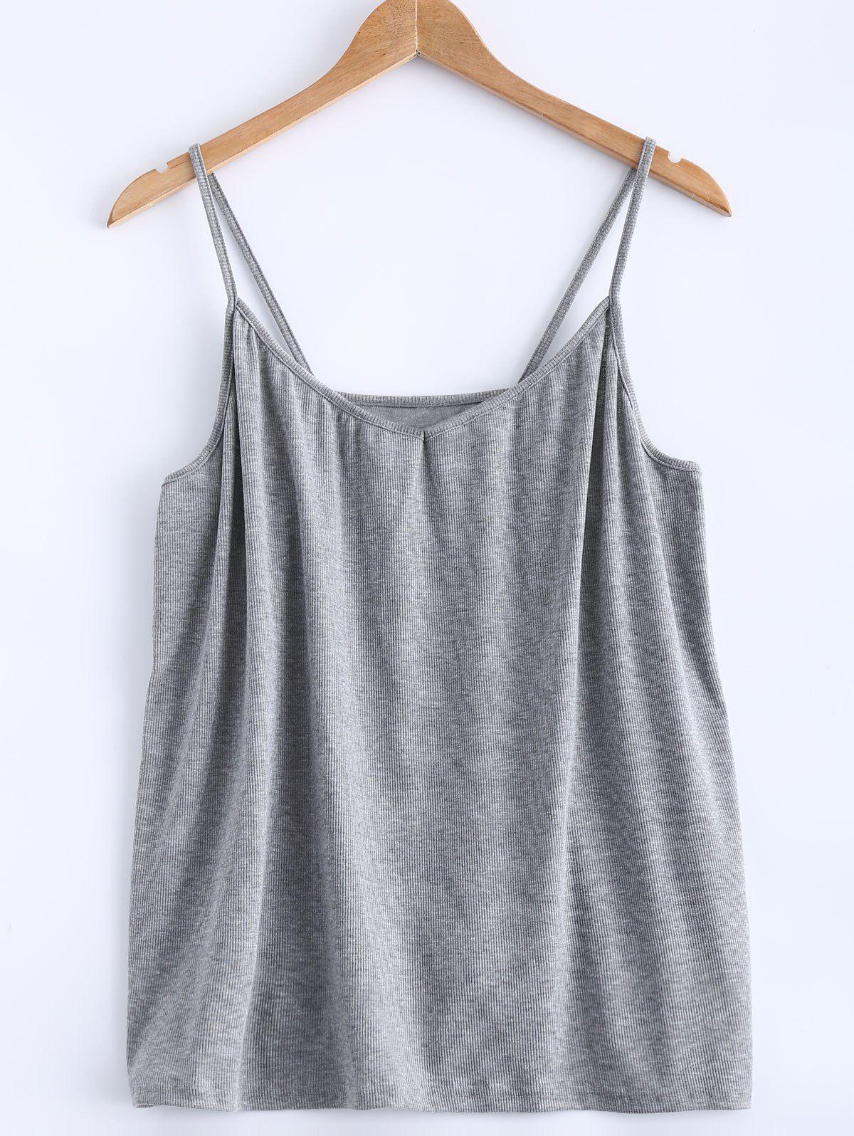 Open Back Stretchy Ribbed Tank Top - GRAY 4XL